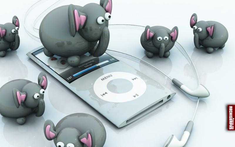 iPod Elephant Discovery桌面壁纸壁纸 Archigraphs创意3D动物插画设计壁纸壁纸 Archigraphs创意3D动物插画设计壁纸图片 Archigraphs创意3D动物插画设计壁纸素材 插画壁纸 插画图库 插画图片素材桌面壁纸
