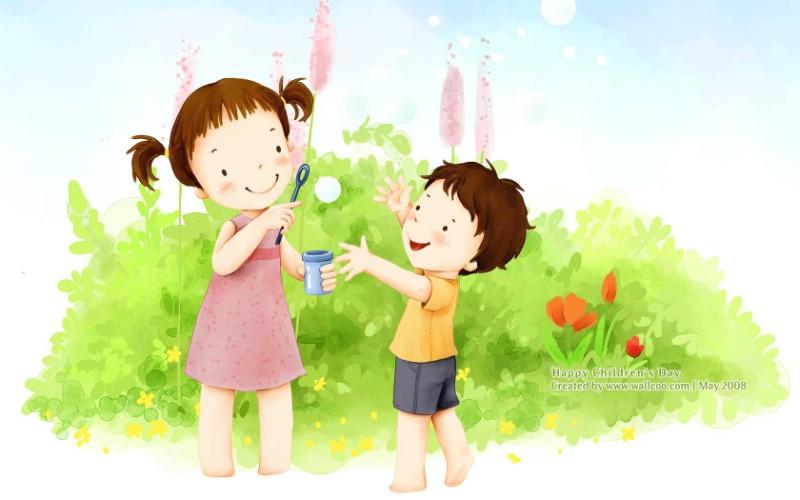 儿童节 可爱儿童插画壁纸 姐姐和弟弟 韩国卡通