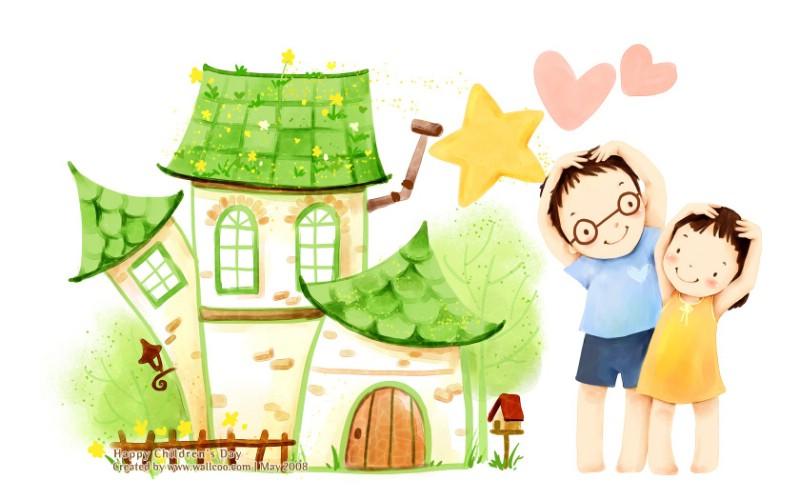 儿童节 可爱儿童插画壁纸 两兄妹 韩国卡通儿童
