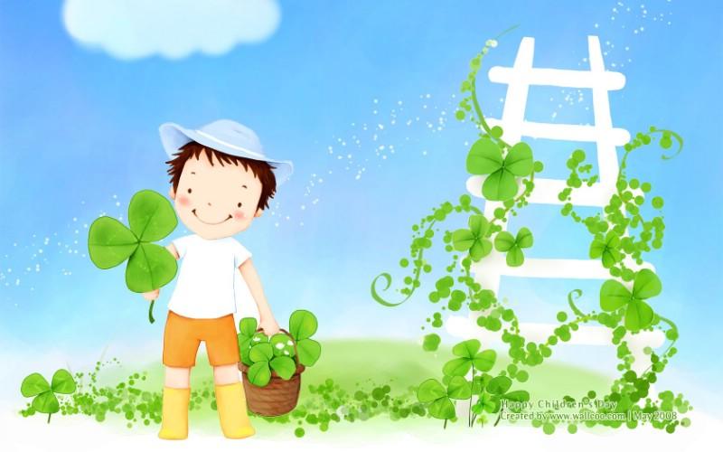 儿童节可爱儿童插画壁纸素材
