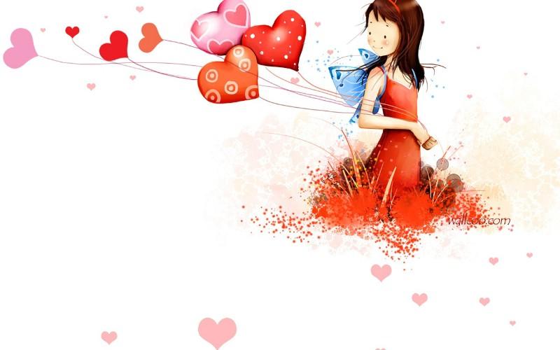 清新可爱小女孩插画壁纸