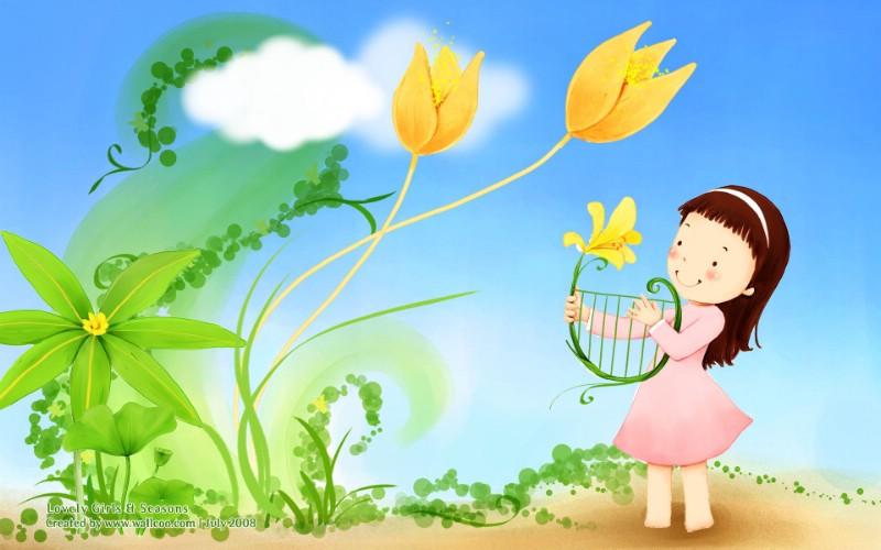 春天小天使 韩国卡通女孩插画壁纸 韩国儿童插画可爱小女孩壁纸 韩国