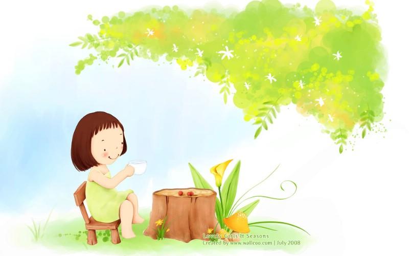 童话夏日 韩国卡通女孩插画壁纸 韩国儿童插画