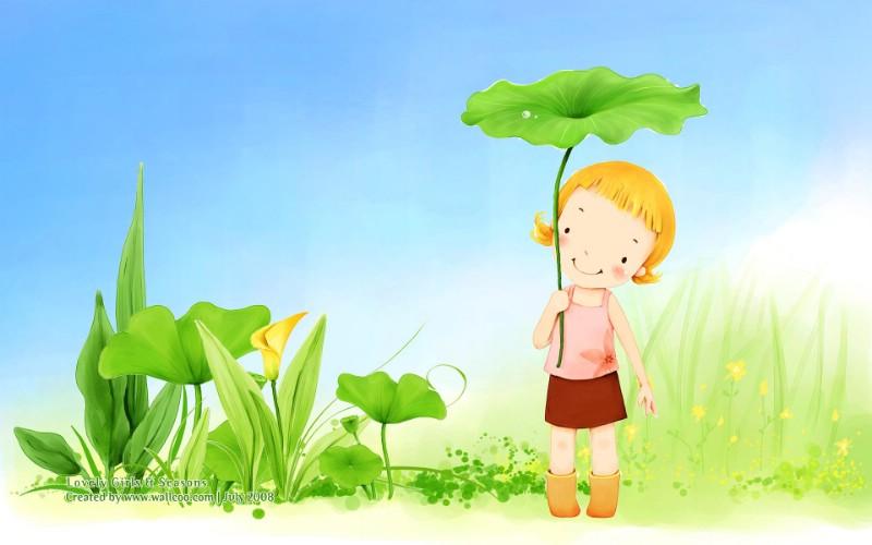韩国儿童插画可爱小女孩素材