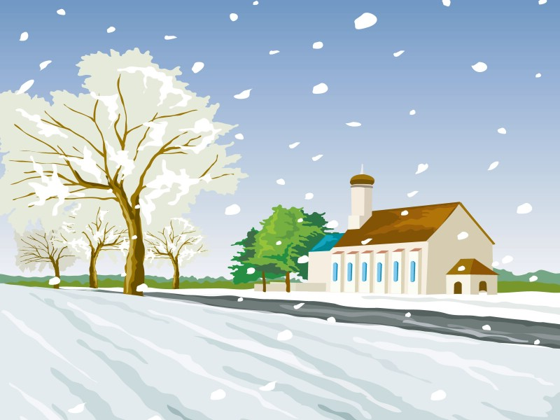 矢量风景插画 冬日白雪 1600 1200 冬天雪景矢量图 Christmas snow