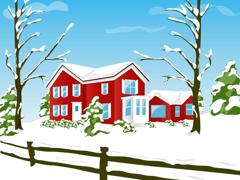 卡通雪房子