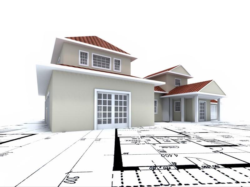 住宅建筑3D设计蓝图壁纸,建筑蓝图壁纸图片 插画壁纸 插画图片素材