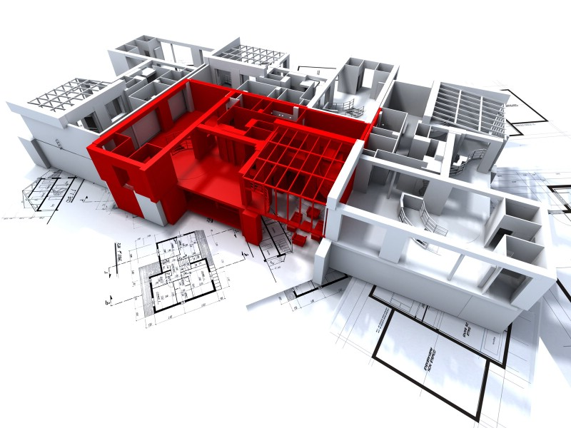 建筑蓝图 - 住宅建筑3D设计蓝图、住宅建筑设计蓝图,住宅建...