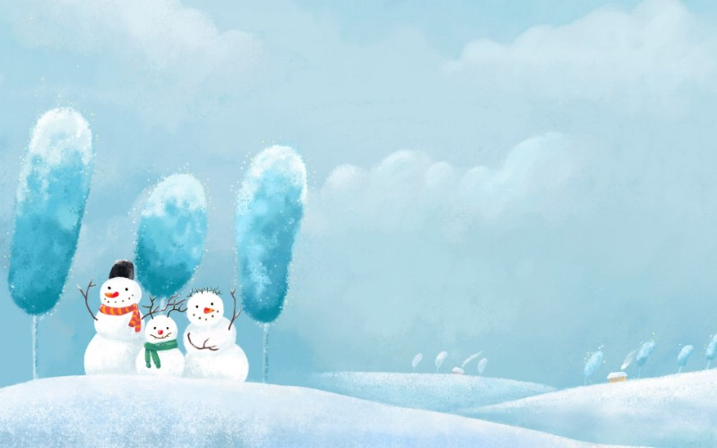 r 插画 童话冬天雪景插画壁纸壁纸,Painter 水彩风格 童话冬天插画