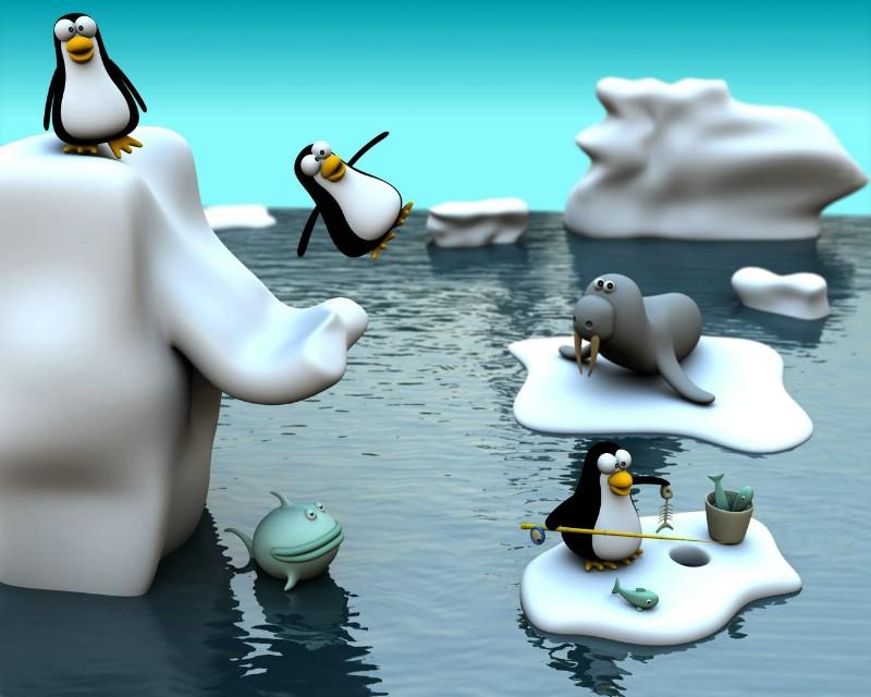 可爱卡通动物 企鹅海豹壁纸壁纸 趣味3d 卡通设计壁纸壁纸 趣味3d