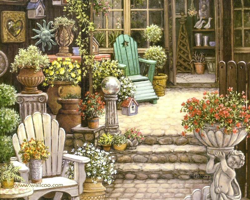 古典浪漫花园手绘壁纸壁纸,古典浪漫花园手绘壁纸壁纸图片-创意壁纸-创意图片素材-桌面壁纸