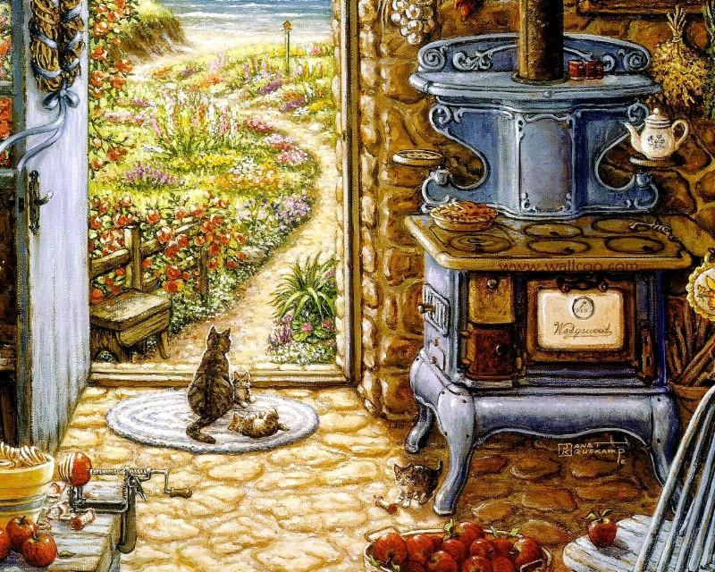 古典浪漫花园手绘壁纸