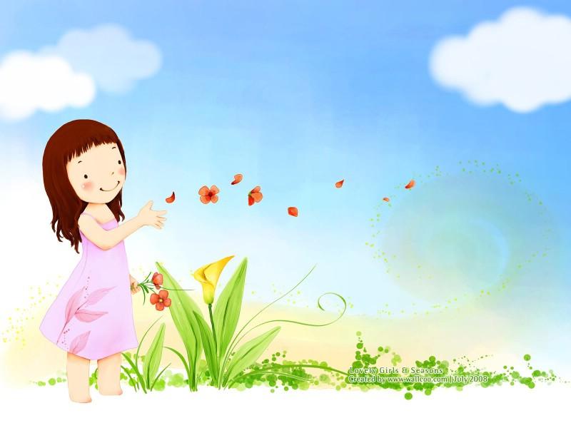 韩国儿童插画 可爱小女孩
