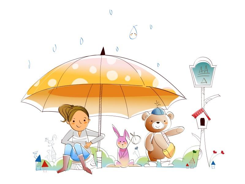 各种雨伞带人物简笔画