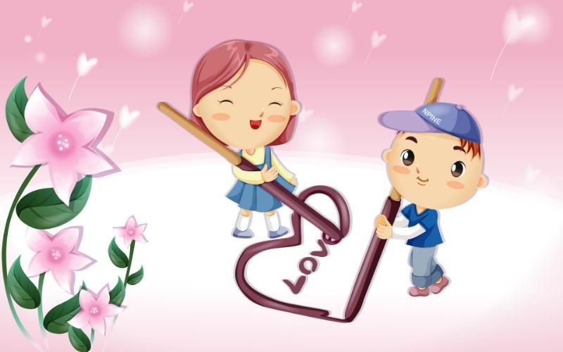 可爱矢量风格卡通爱情宽屏壁纸 壁纸5,可爱矢量风格卡通爱情,动漫壁纸