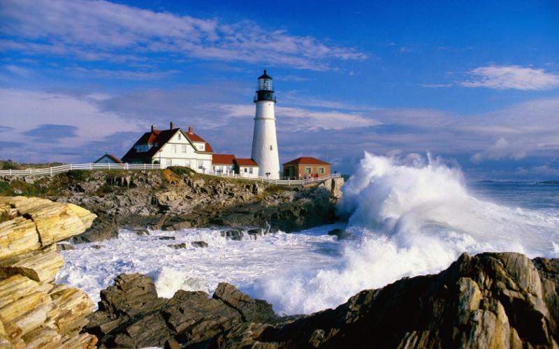 海岸灯塔 高清风光壁纸图片 海岸灯塔 高清风光壁纸素材 风景壁纸