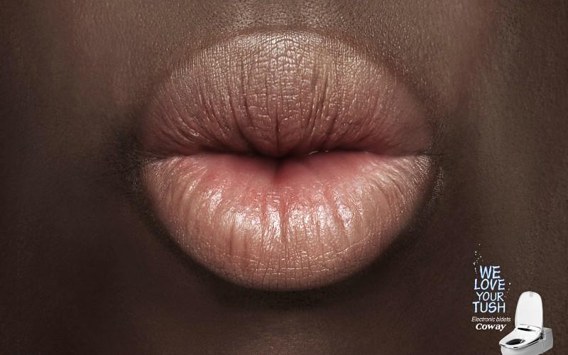 coway自动清洗马桶广告设计:亲吻篇、平面设计图片, 广告宣
