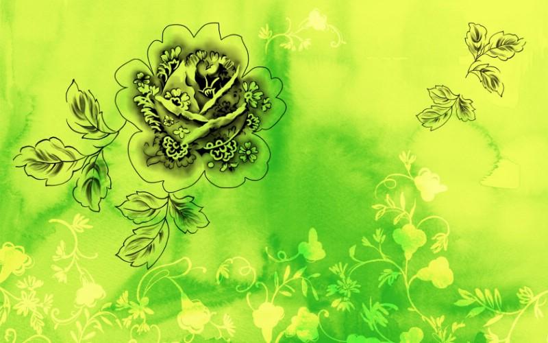 绿色碎花边框素材