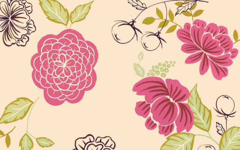 花卉图案设计- 抽象花卉插画壁纸、花的插画,电脑画的花的...
