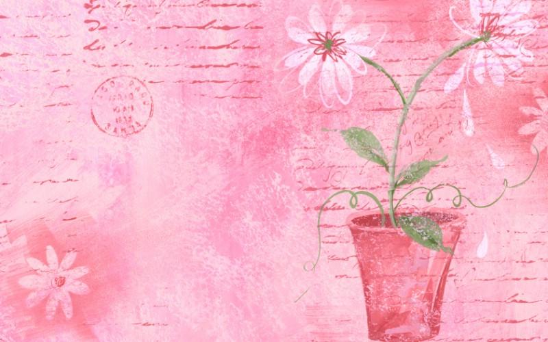 艺术花卉图案壁纸 - 花卉插画壁纸、花的插画,电脑画的花的...