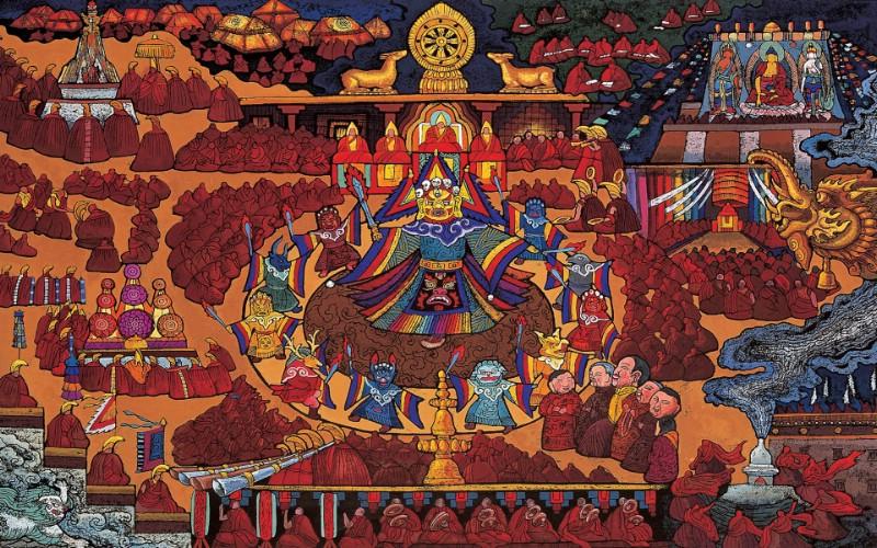 藏族祥巴版画 壁纸19壁纸 藏族祥巴版画壁纸 藏族祥巴版画图片 藏族祥巴版画素材 绘画壁纸 绘画图库 绘画图片素材桌面壁纸