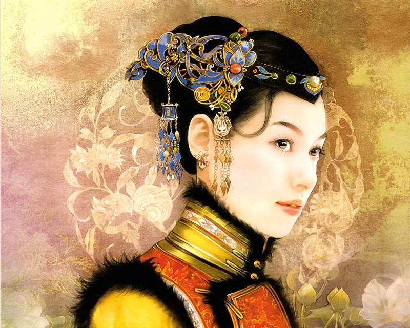 清朝女子绘画壁纸