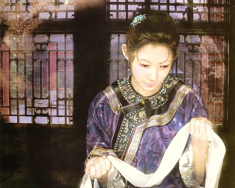 德珍绘画 清朝女子绘画壁纸