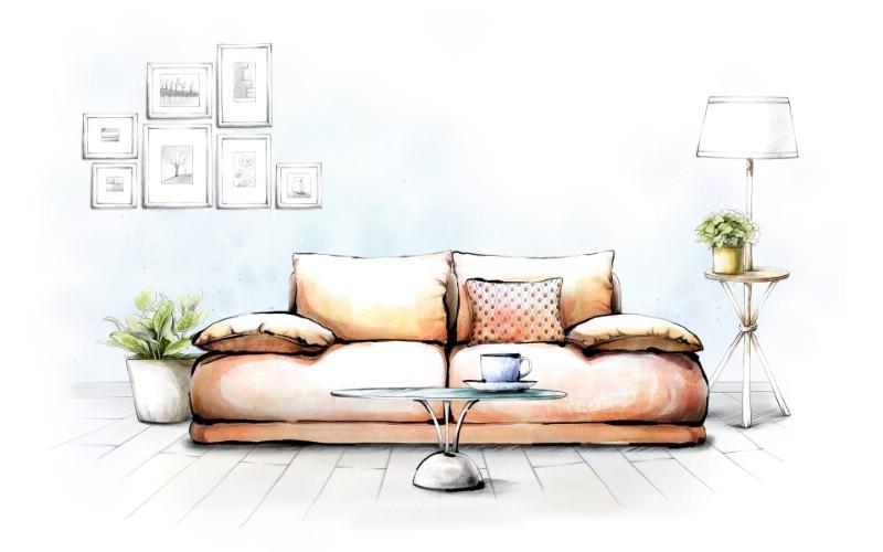 衣柜内部手绘图-手绘室内家居 绘画壁纸 绘画图片素材