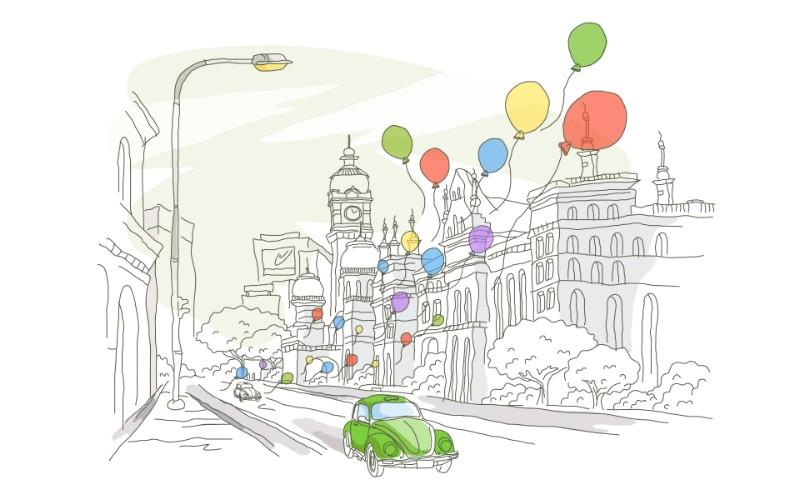 简笔城市风光 2 8壁纸 简笔城市风光壁纸 简笔城市风光图片 简笔城市风光素材 绘画壁纸 绘画图库 绘画图片素材桌面壁纸