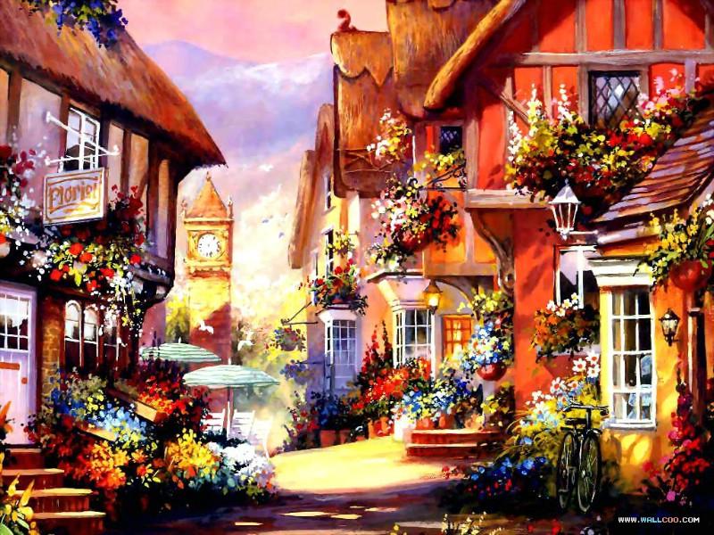 手绘浪漫小屋壁纸 手绘童话花园别墅图片 Country Cottage Charm Art