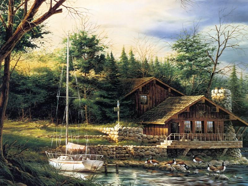 美国乡村主题野外写生壁纸