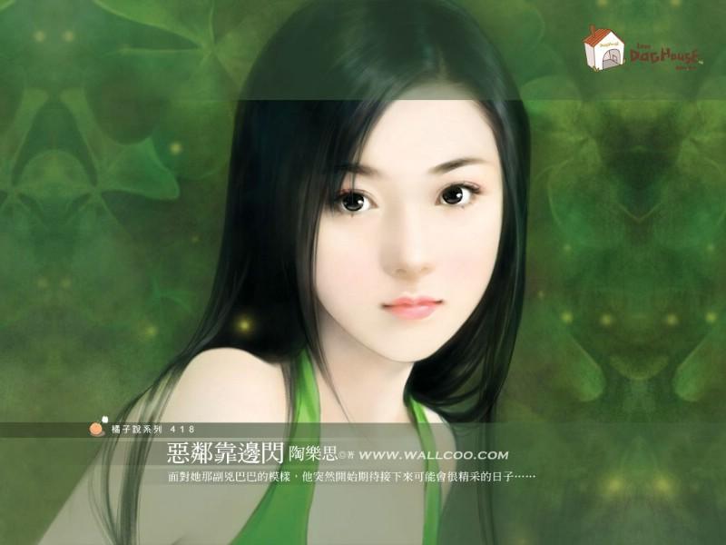 美女手绘壁纸二台湾言情小说封面壁纸