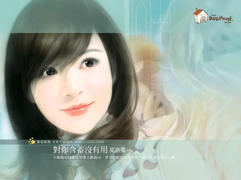 美女手绘壁纸五台湾言情小说封面壁纸