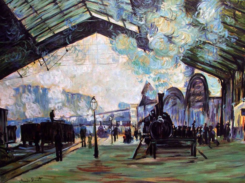 莫奈 壁纸/印象派画家壁纸莫奈油画 Arrival of the Normandy Train Gare...