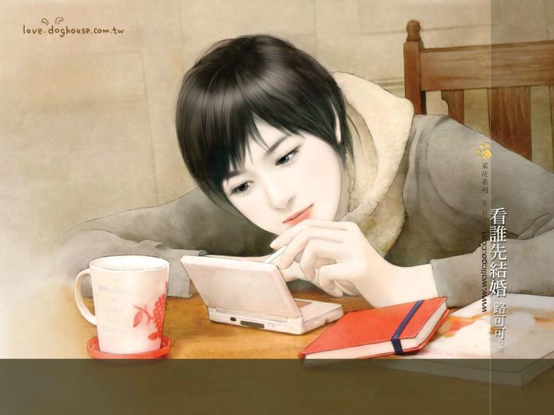 唯美手绘美女壁纸言情小说美女 动手网