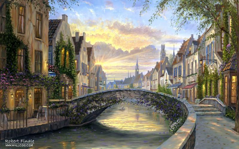 小镇风景油画小镇风景油画图片小镇风景油画素材