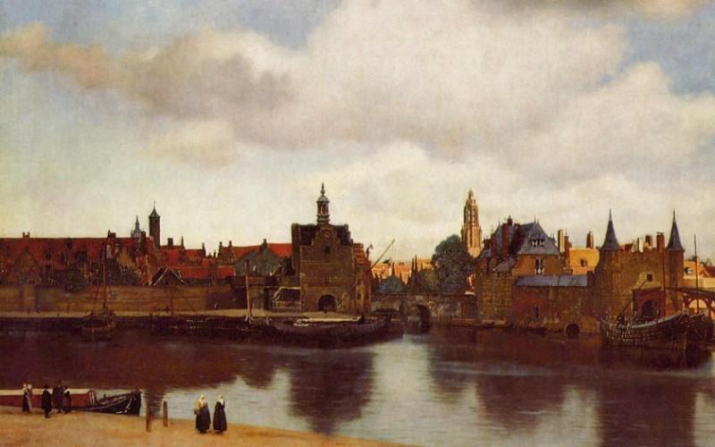 世界名画壁纸欣赏 Fine Art Painting Vermeer View of ...