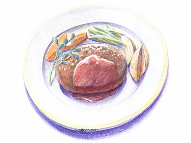 手绘美食壁纸 食物彩色铅笔画 一 彩色铅笔画壁