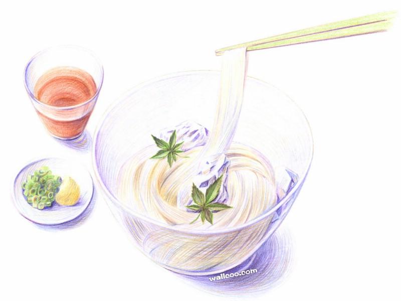 手绘美食壁纸 食物彩色铅笔画