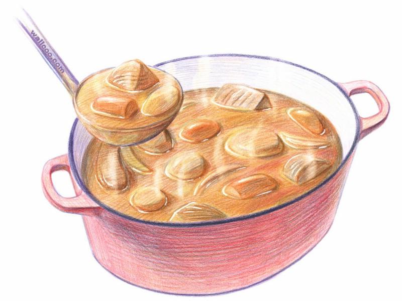 手绘美食壁纸 食物彩色铅笔画 一 彩色铅笔画壁纸 美食插画 Color