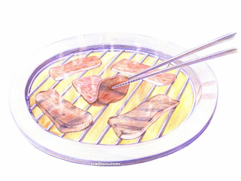 手绘美食壁纸 食物彩色铅笔画 一 彩色铅笔画壁纸 美食插画 Color Pencil Drawings of Foods壁纸,手绘美食壁纸食物彩色铅笔画 一 绘画壁纸 绘画图片素材