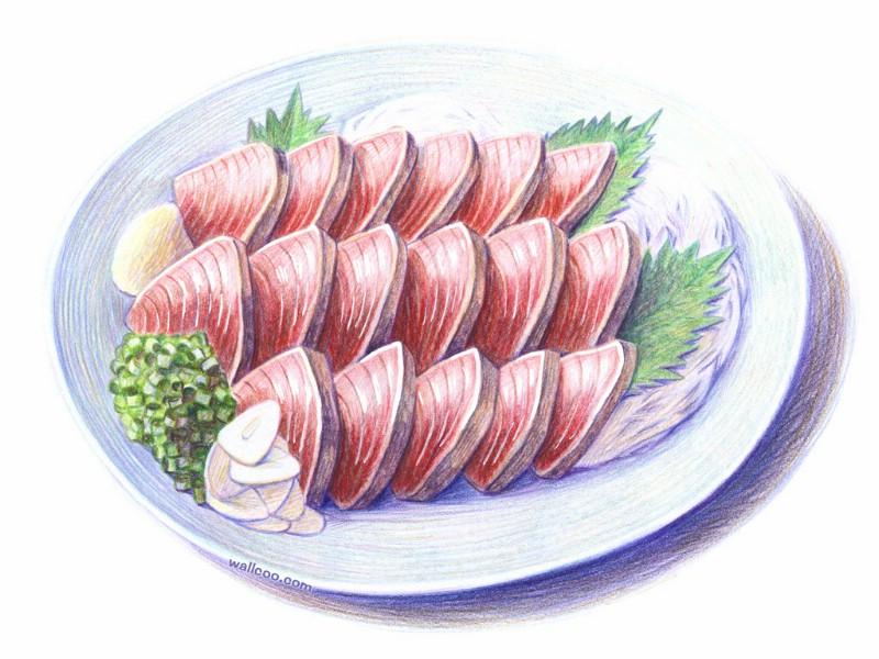 手绘美食壁纸 食物彩色铅笔画桌面