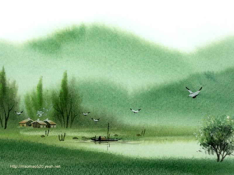 简绘百合子房横切图-水彩画壁纸 梦幻意境 乡村风景水彩画图片 Chinese Paintings