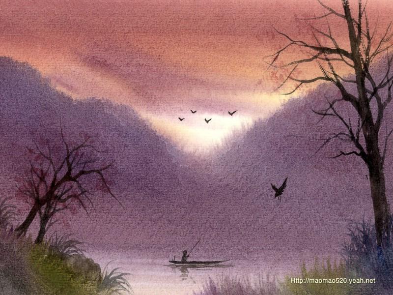 简笔画风景水彩画分享展示