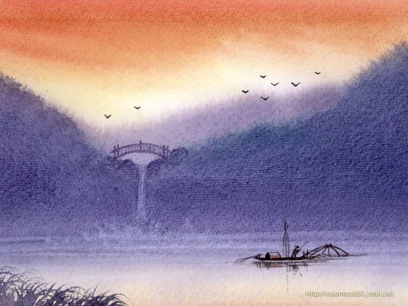 水彩画:英格兰乡村风景