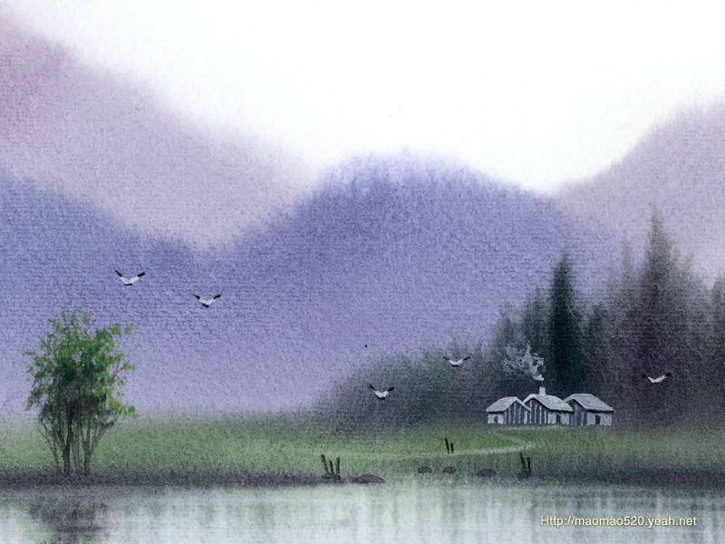 浅谈风景水彩画的技法表现要素水在水彩画的基本媒介中是最为重要的1