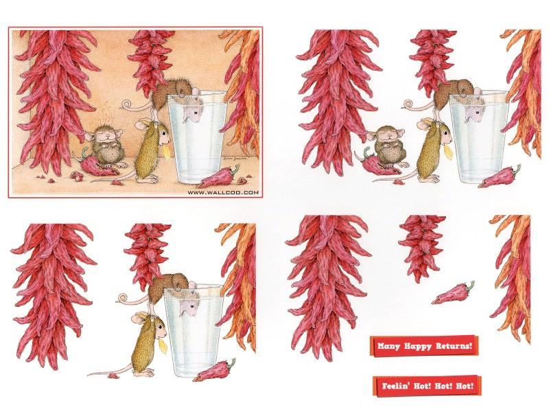 辣椒 可爱小老鼠插画原画壁纸,鼠鼠一家 温馨小