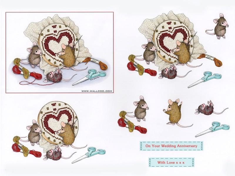 十字绣 - 可爱小老鼠插画原画,家居小老鼠插画,小老鼠一家的温馨生活