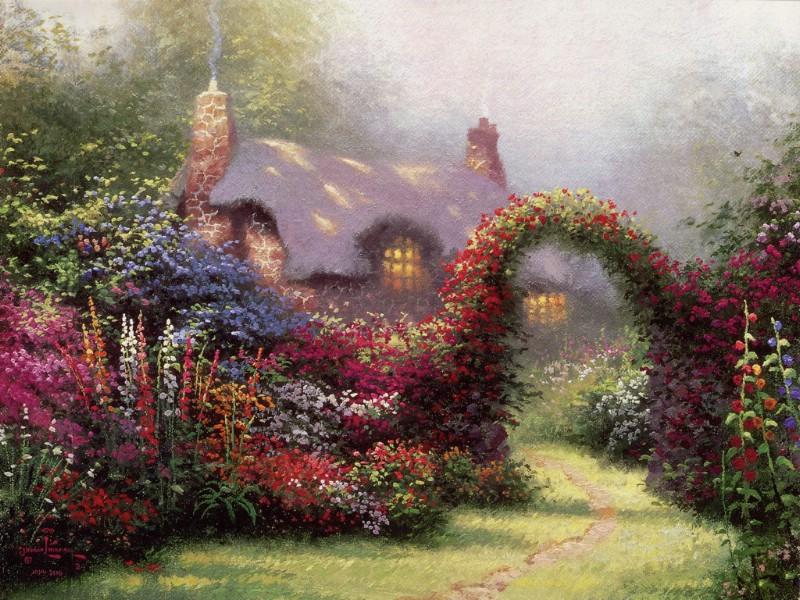 壁纸 风景 油画/Thomas Kinkade 温馨田园风景油画壁纸壁纸4