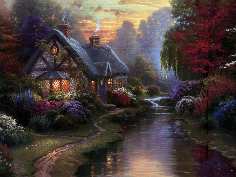 他作品中场景多以花园,小溪,田园小屋等等为主.图片
